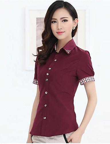 טלאים צווארון פיטר פן פשוטה עבודה מידות גדולות חולצה נשים,קיץ שרוולים קצרים בינוני (מדיום) כותנה