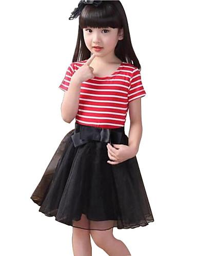 שמלה פרחוני כותנה קיץ כחול / אדום הילדה של