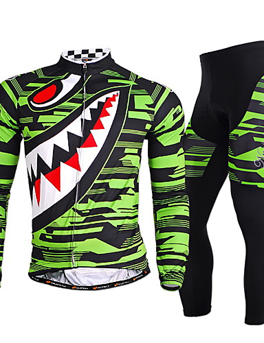 cheap Cycling Clothing-Nuckily Men's Long Sleeve Cycling Jersey with Tights - Gray Green Bike Clothing Suit Windproof Breathable Quick Dry Ultraviolet Resistant Reflective Strips Sports Polyester Lycra Shark Mountain Bike