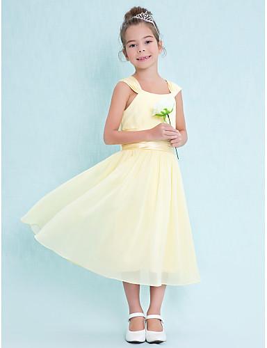 A-Şekilli Kare Yaka Diz Altı Şifon Drape Kırma Dantel ile Çocuk Nedime Elbisesi tarafından LAN TING BRIDE®
