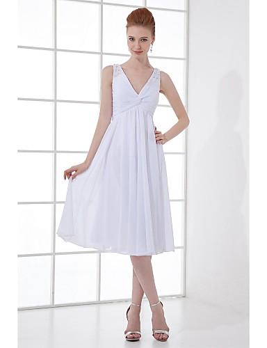A-라인 V 넥 무릎 길이 쉬폰 신부 들러리 드레스 와 비즈 단추 으로 LAN TING BRIDE®