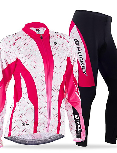 cheap Cycling Clothing-Nuckily Women's Long Sleeve Cycling Jersey with Tights Red Blue Dots Bike Clothing Suit Thermal / Warm Windproof Fleece Lining Breathable Anatomic Design Winter Sports Polyester Spandex Fleece Dots