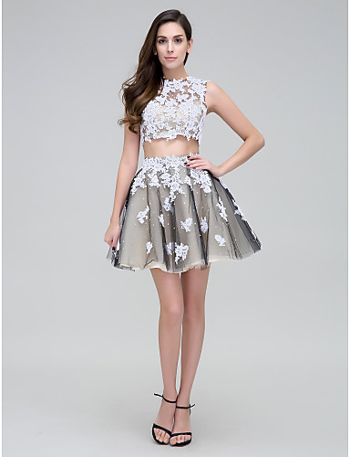 Two Piece Illusion Neck Short / Mini Lace Over Tulle Cocktail Party / Homecoming / Prom Dress with Beading by TS Couture®