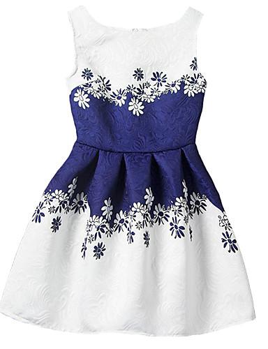 Mädchen Kleid Ausgehen Polyester Frühling Sommer Herbst Ärmellos Blumig Blau