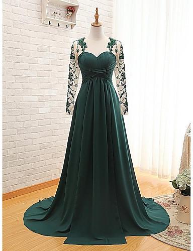 Linha A Decote Princesa Cauda Escova Chiffon Evento Formal Vestido com Apliques Pregas de Weishang