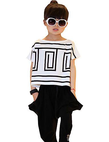Mädchen Kleidungs Set Alltag Gestreift Baumwolle Sommer Kurzarm Streifen Weiß Schwarz