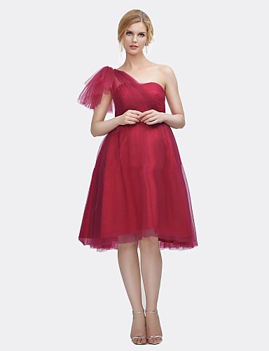 uma linha de um ombro joelho comprimento cetim vestido de dama de honra de tul com drapeado por xiangyouyayi