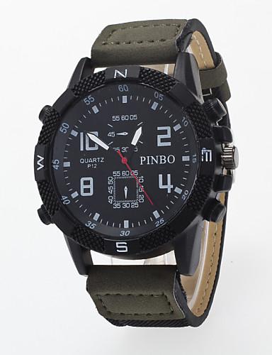 Herrn Armbanduhr Quartz / Armbanduhren für den Alltag PU Band Freizeit Schwarz Blau Braun Grün Lila Khaki