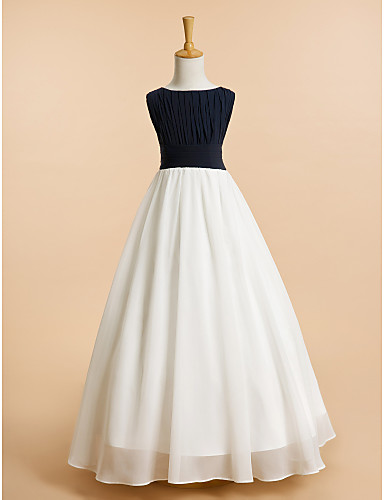 tanie Suknie weselne-Krój A Sięgająca podłoża Sukienka dla dziewczynki z kwiatami - Szyfon Bez rękawów Łódeczka z Drapowania przez LAN TING BRIDE®