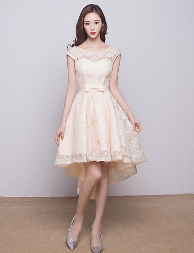 נשף עם תכשיטים א-סימטרי תחרה שמלה לשושבינה  עם פפיון(ים) על ידי CHQY