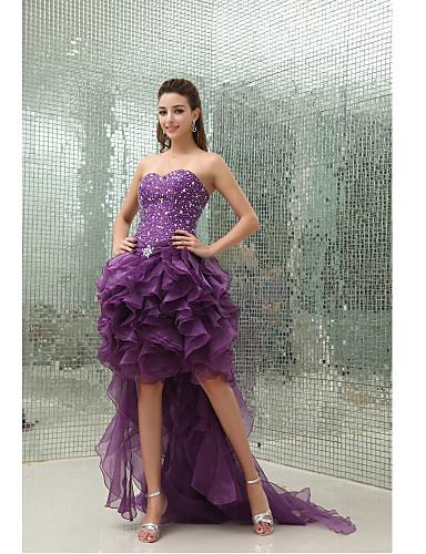 볼 드레스 스윗하트 비대칭 오간자 칵테일 파티 드레스 와 비즈 주름장식 으로 TS Couture®