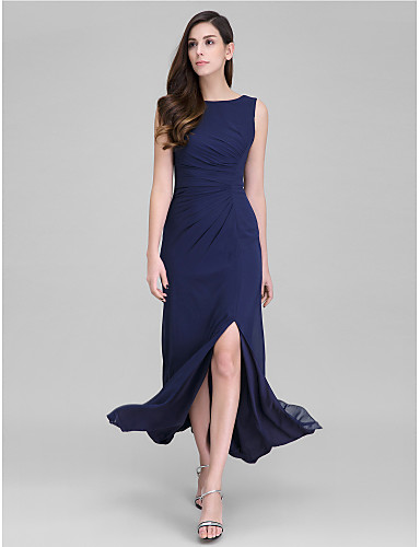 Sheath / Column Scoop Neck Ankle Length Georgette Formal Evening Dress with Side Draping by TS Couture®