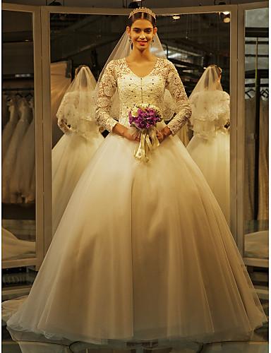 A-linje V-hals Svøpeslep Blonder Tyll Bryllupskjole med Perlearbeid Appliqué av LAN TING BRIDE®