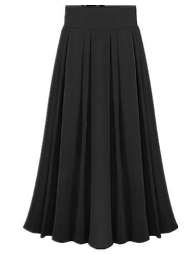 abordables Jupes-Femme Sortie Balançoire Jupes - Couleur Pleine Plissé / Mousseline de Soie Rose Bleu clair Vert clair Taille unique