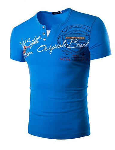 남성용 문자 프린트 - 티셔츠 스포츠 면