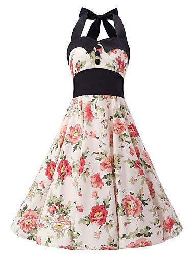 여성용 A 라인 드레스 - 플로럴, 주름장식 홀터 넥