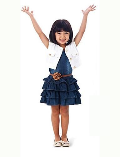 שמלה / סט של בגדים פוליאסטר קיץ לבן הילדה של