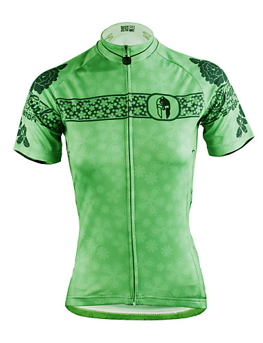 cheap Cycling Clothing-ILPALADINO Women's Short Sleeve Cycling Jersey - Green Plus Size Bike Jersey Top Breathable Quick Dry Ultraviolet Resistant Sports Polyester 100% Polyester Terylene Mountain Bike MTB Road Bike Cycling