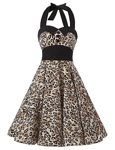 Ženski Haljina Vintage A kroj Leopard,Do koljena Na vezanje oko vrata Pamuk