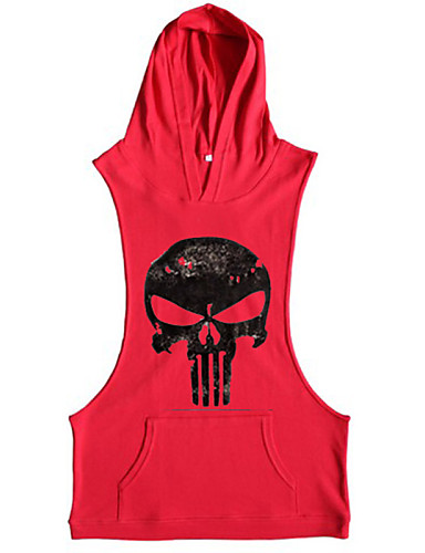 cheap Men's Tees & Tank Tops-Men's Daily Sports Active Tank Top - Skull Print Hooded Yellow M / Sleeveless / Summer