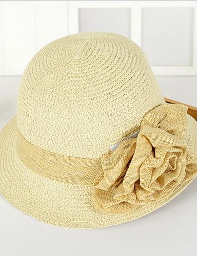 Uniseks Vintage Slatko Zabava Posao Ležerne prilike Proljeće Ljeto Slama Polucilindar i cloche šešir Šešir za sunce Bež Krema Žutomrk