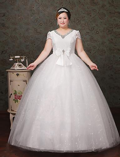 A-라인 V-넥 바닥 길이 레이스 튤 웨딩 드레스 와 크리스탈 레이스 으로