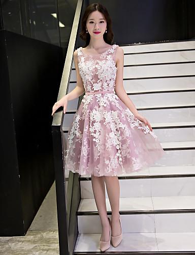 A-Linie U-Ausschnitt Knie-Länge Spitze Tüll Cocktailparty Abiball Kleid mit Applikationen Spitze Schärpe / Band durch QZ