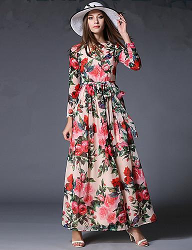 Mulheres Feriado Vintage / Boho Chifon Vestido - Pregueado, Floral Longo / Primavera