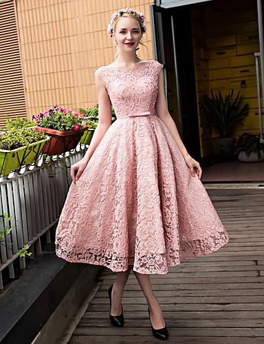 A-Linie U-Ausschnitt Tee-Länge Spitze über Tüll Cocktailparty / Abschlussball / Abiball Kleid mit Perlenstickerei Paillette Schleife(n)