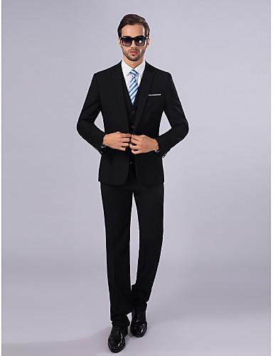 Schlanke Passform Polyester Anzug - Schlankes, fallendes Revers Einreiher - 1 Knopf