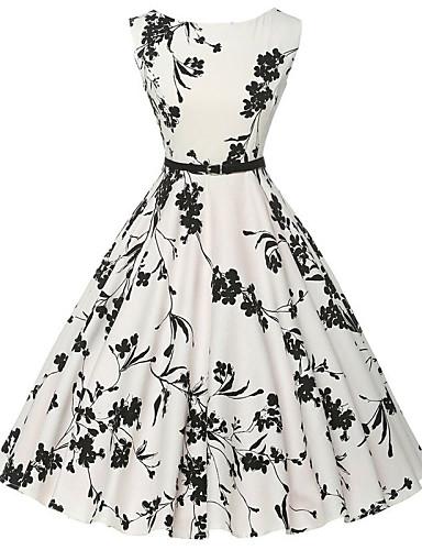 Dame Vintage Bomull A-linje Kjole - Blomstret, Trykt mønster Knelang