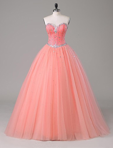 A-Line Strapless Floor Length Satin Tulle Formal Evening Dress with Beading by LAN TING Express