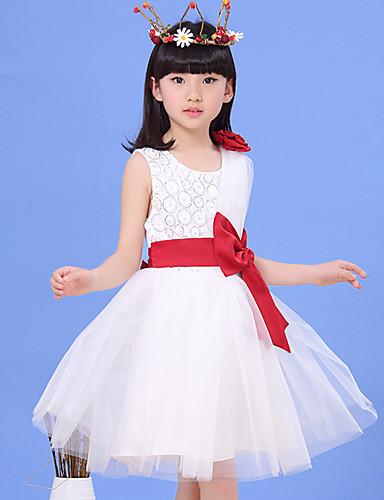 Mädchen Kleid Ausgehen Patchwork Polyester Sommer Ärmellos Schleife Weiß Rosa