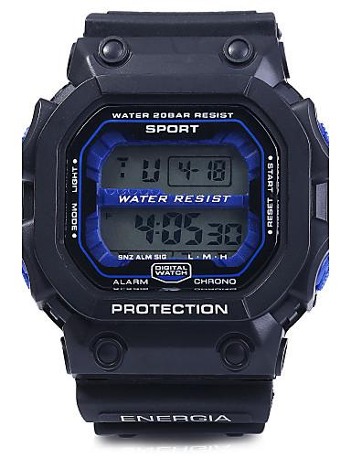 בגדי ריקוד גברים שעון יד שעוני ספורט דיגיטלי Alarm לוח שנה כרונוגרף עמיד במים LED PU להקה שחור