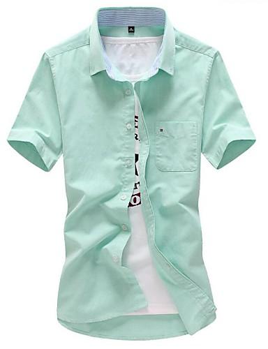 Menn Kortermet Skjorte Bomull Fritid / Arbeid / Plusstørrelse Ensfarget