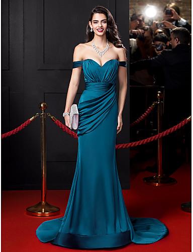 인 어 / 트럼펫 오프 코트 코트 트레인 새틴 쉬폰 이브닝 드레스, ts couture® by draping®