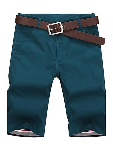 אנשיו של מכנס קצר (שורט) חלק כותנה / פוליאסטר יום יומי / ספורט שחור / כחול / ירוק / אדום