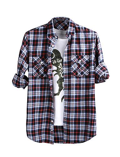 JamesEarl Masculino Colarinho de Camisa Manga Comprida Shirt & Blusa Vermelho - M61XC001401