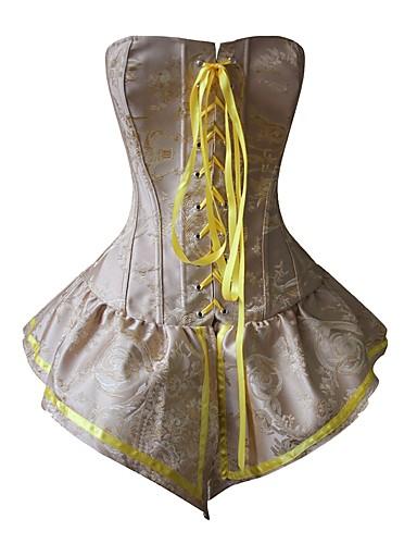 Damen Schnüren Unterbrustkorsett Brustkorsett Korsett-Kleider Übergröße Jacquard - Polyester Nylon Gelb