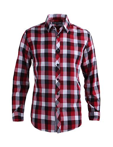 JamesEarl Masculino Colarinho de Camisa Manga Comprida Shirt & Blusa Vermelho - DA202028801
