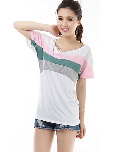 Mulheres Camiseta Casual Moda de Rua / Activo Verão,Color Block Branco Algodão / Modal Decote Redondo Manga Curta Fina