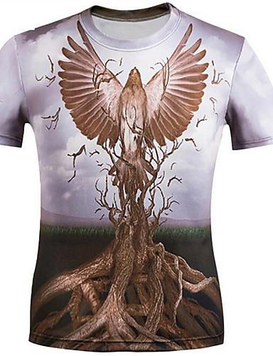 Herren T-shirt-Druck / Buchstabe Freizeit Polyester Kurz-Tierdruck
