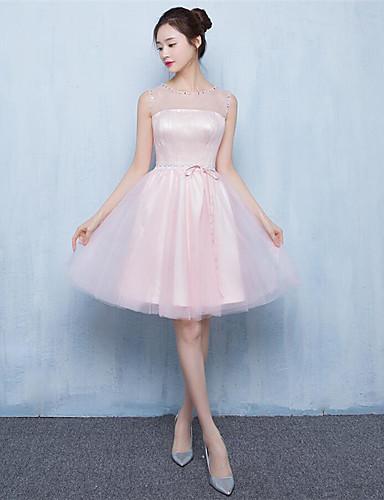 Knielangen Tüll lace-up Brautjungfer Kleid - a-line Juwel mit Perlen