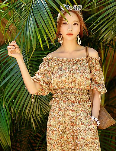 Polyester Beige Medium Halvlange ermer,Løse skuldre Bluse Blomstret Sommer Bohem Strand Kvinner