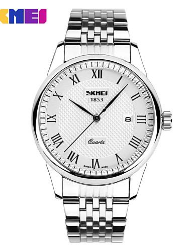 Mulheres Relógio Elegante Quartzo Aço Inoxidável Banda Prata Branco Preto Azul