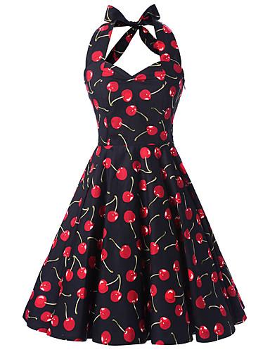Damen A-Linie Kleid Blumen Halter