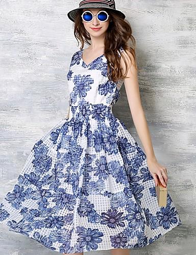 Damen Street Schick Hülle Kleid Blumen Knielang