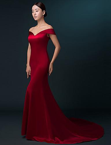 468bc2d66d20 Τρομπέτα   Γοργόνα Ώμοι Έξω Ουρά Σατέν Επίσημο Βραδινό Φόρεμα με Πλισέ με  LAN TING Express.  315.00. USD  98.99(537). Χαμηλού Κόστους Κόκκινα  φορέματα χορού ...