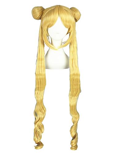 voordelige Cosplay Pruiken-Sailor Moon Sailor Moon Cosplaypruiken Heren Dames 40 inch(es) Hittebestendige vezel Gouden Anime