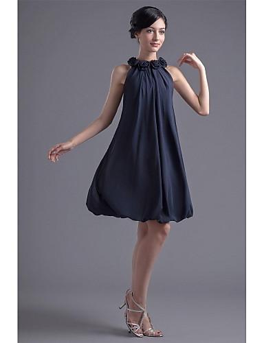 A-Linie Schmuck Knie-Länge Chiffon Cocktailparty Kleid mit Drapiert / Blume durch TS Couture®